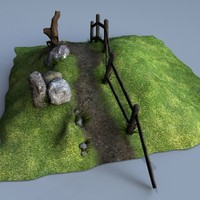 old hill fence 3d model