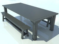 TableAndBenchOld_NoMat_1 - 3D Old Wooden Bench model - Made in 3ds max2010