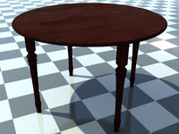 Table Small Round 3 - 3D Small Wooden Table model - Includes Wood Dark_1 Material - Made in 3ds max2010