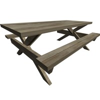 picnic bench wooden 3d model