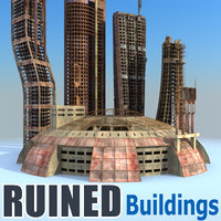 Sci Fi Ruined Buildings Collection 02