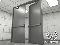 Double Door 1 NoMat - RIGGED - detailed double door model - 3ds max2010