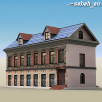 two-story house building 3d model