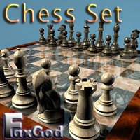 3d chess pieces board bonus model