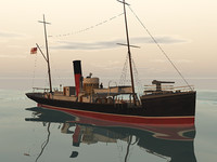 ww1 armed trawler 3d obj