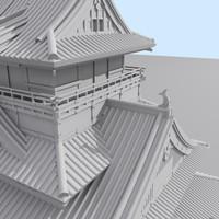 Japanese palace_Kumamoto_Mentalray.max