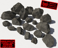 Rocks 2 Grey Jagged RS15 - Dark Grey 3D rocks or stones