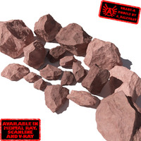 Rocks 7 Jagged RS49 - Light Red 3D rocks or stones