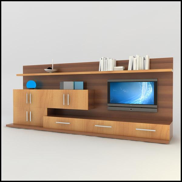 Modern tv wall unit 3d model - Modern entertainment wall unit ...