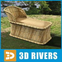 cane sofa chair furniture 3d 3ds