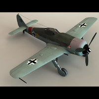 focke-wulf fw 190 fighter aircraft 3d model