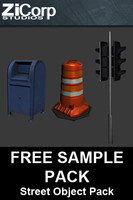 demo pack street objects 3ds free