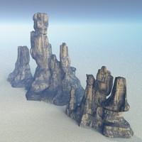 alien desert terrain rock 3d model