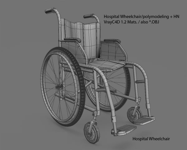 hospital wheelchair 3d model - Hospital Wheelchair... by Polyx