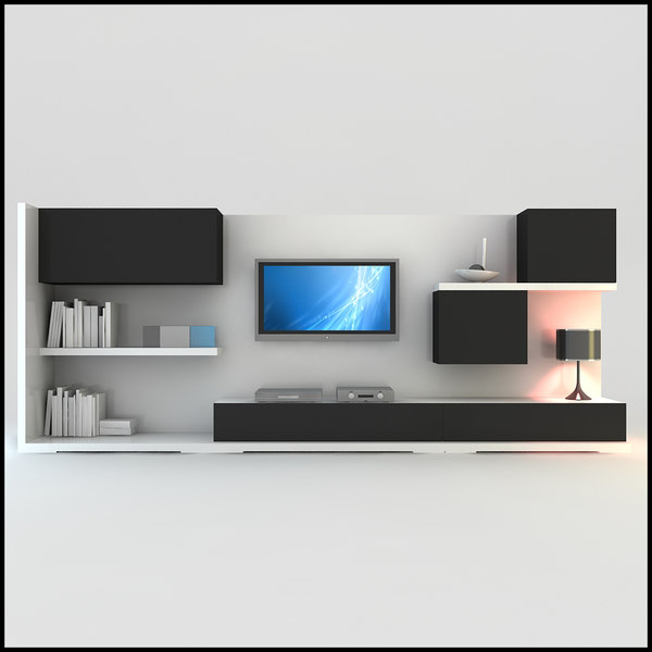 Modern tv wall unit dwg - Modern tv interior design ...