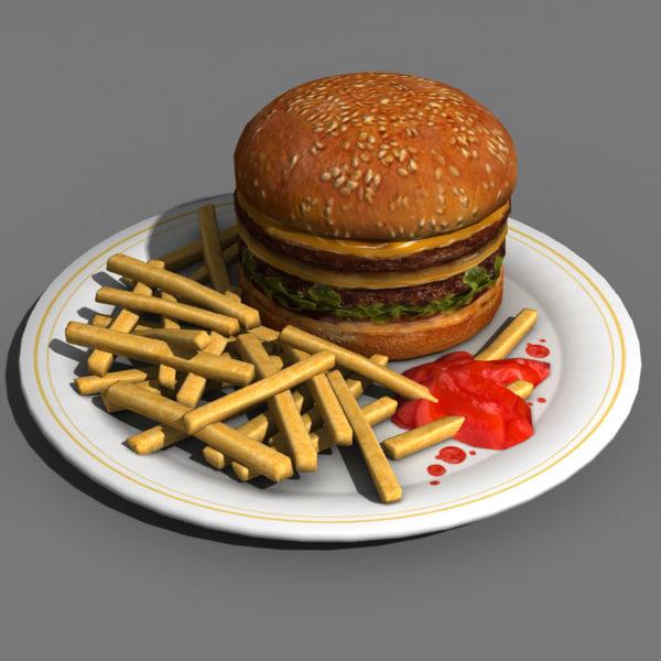 Hamburger food 3d model for Food bar 3d model