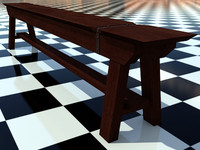 BenchOld 1 - 3D Old Wooden Bench model - Includes Wood Dark_1 Material - Made in 3ds max2010