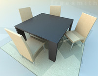 dining table chair set 3d model