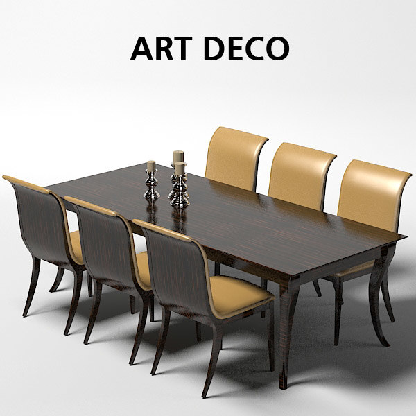 Oak design art 3d model for Dining room table 3ds max