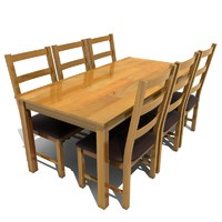 atlanta dining set table chairs 3d model