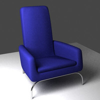 3d blue couch model