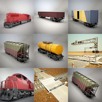 railroad crossing train 3d model