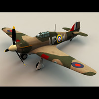 hawker hurricane fighter 3d model