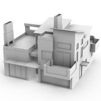 exterior passive solar house 3d model