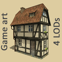 Old fachwerk lowpoly house with 4 LODs #1
