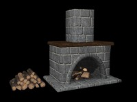 fireplace set 3d model