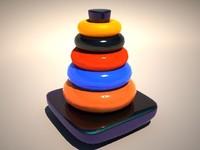 toy tower hanoi 3d model