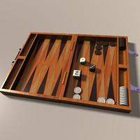 backgammon dice chips 3d 3ds