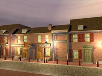 old american houses buildings 3d model
