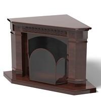 3d model fireplace corner classic