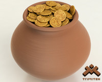 realistic pot gold coins 3d model