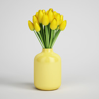 vase flower tulip 3d model