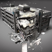 destroyed building 09 damaged 3d max
