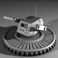 3d futuristic laser turret model