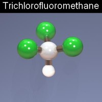 3d molecule trichlorofluoromethane model