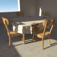 3d model table tablecloth chairs
