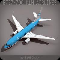 737-700 plane klm airlines 3d model