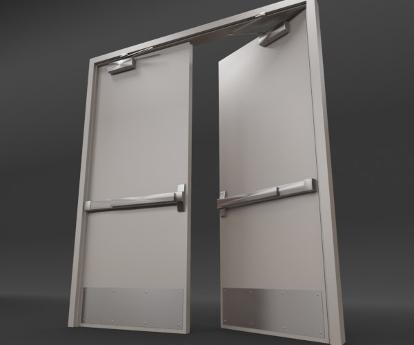 Rigged double door 3d model - Painting a steel exterior door model ...