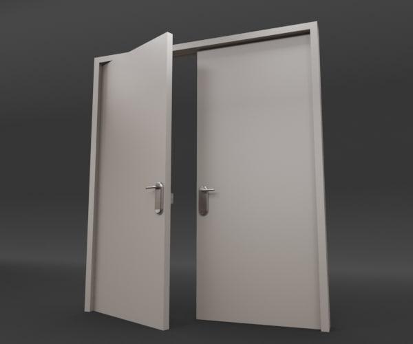 Rigged double door 3d model for Double steel entry doors