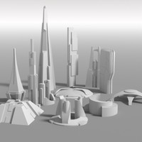 futuristic buildings 3d model