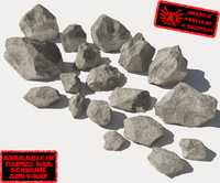 Rocks 1 Jagged RS15 - Grey 3D rocks or stones