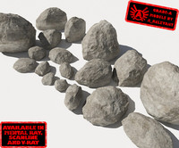 Rocks 1 Smooth RS15 - Grey 3D rocks or stones