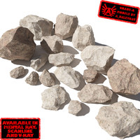 Rocks - Stones 5 Jagged RS09 - Light Tan 3D rocks or stones