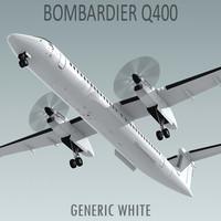 bombardier q400 generic white 3d model