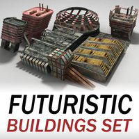 buildings set futuristic 3d model