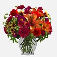mix roses lilies 3d model